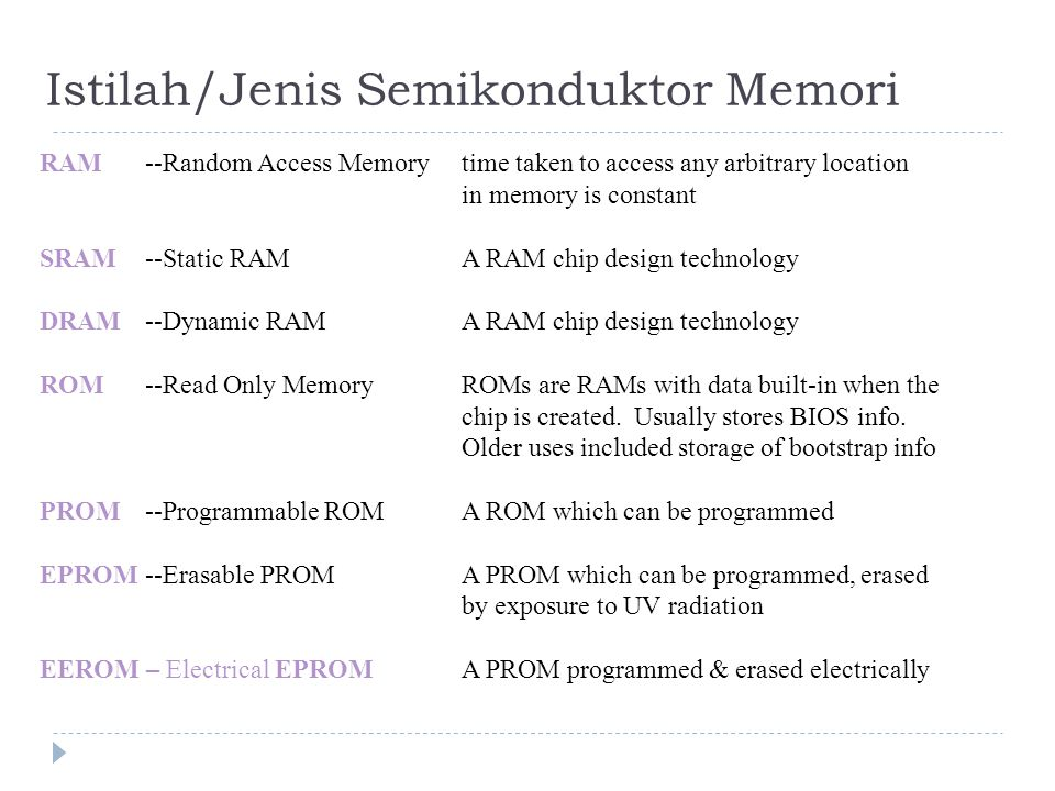 Istilah/Jenis Semikonduktor Memori RAM--Random Access Memorytime taken to access any arbitrary location in memory is constant SRAM--Static RAMA RAM chip design technology DRAM--Dynamic RAMA RAM chip design technology ROM--Read Only MemoryROMs are RAMs with data built-in when the chip is created.