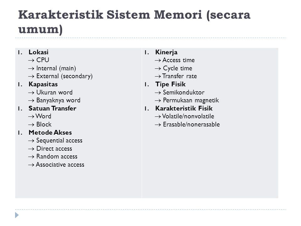 Karakteristik Sistem Memori (secara umum) 1.Lokasi  CPU  Internal (main)  External (secondary) 1.Kapasitas  Ukuran word  Banyaknya word 1.Satuan