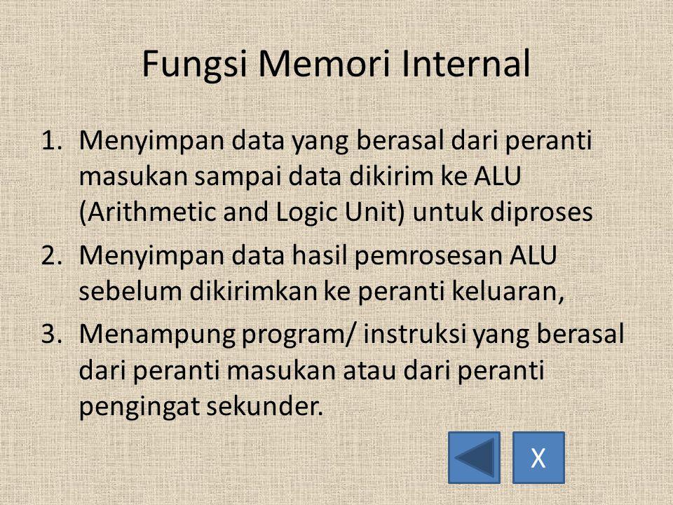 Fungsi Memori Internal 1.Menyimpan data yang berasal dari peranti masukan sampai data dikirim ke ALU (Arithmetic and Logic Unit) untuk diproses 2.Menyimpan data hasil pemrosesan ALU sebelum dikirimkan ke peranti keluaran, 3.Menampung program/ instruksi yang berasal dari peranti masukan atau dari peranti pengingat sekunder.