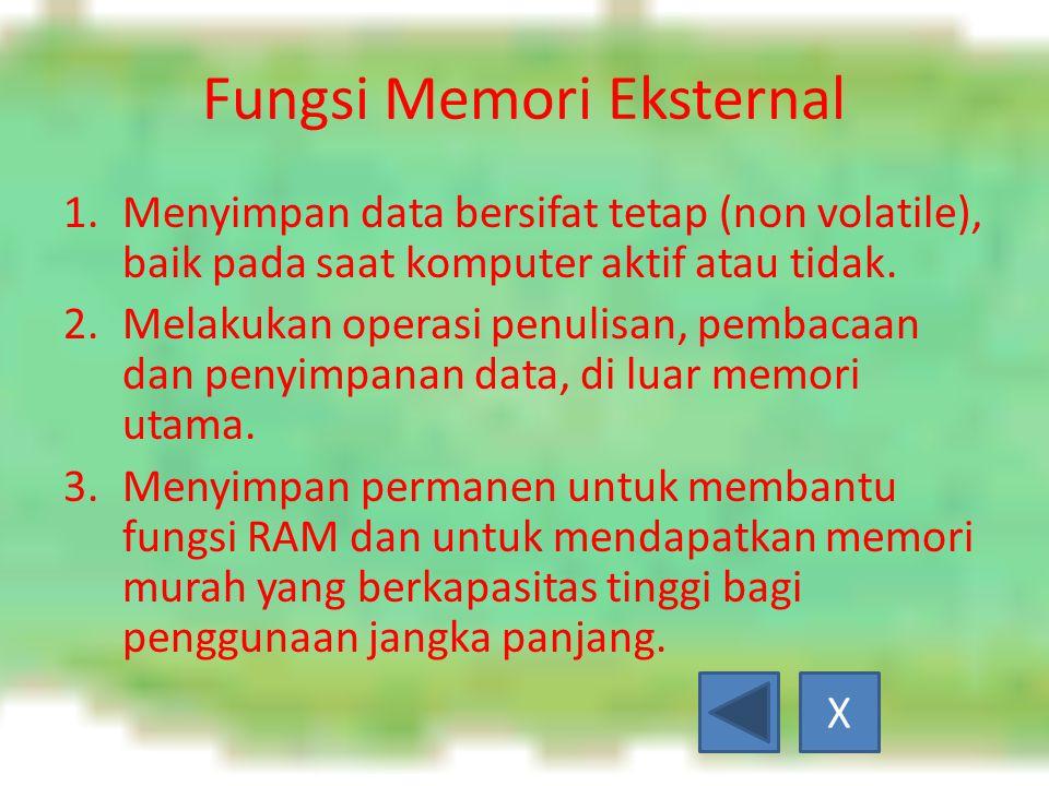 Fungsi Memori Eksternal 1.Menyimpan data bersifat tetap (non volatile), baik pada saat komputer aktif atau tidak.