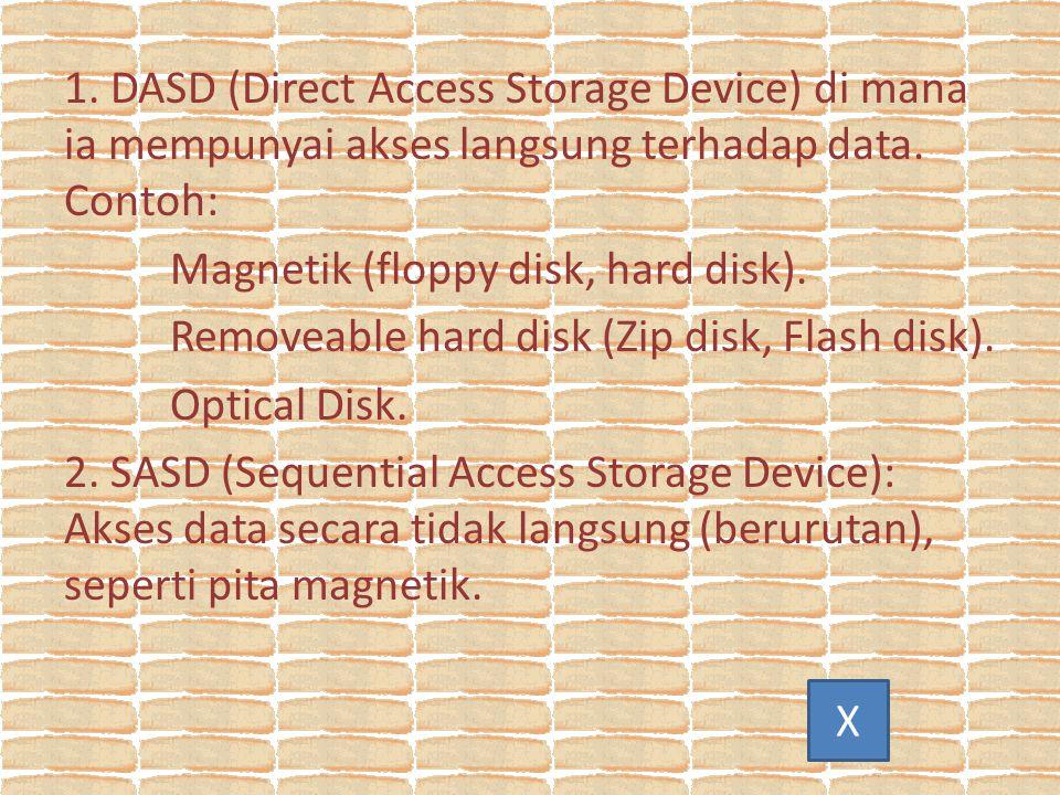 1.DASD (Direct Access Storage Device) di mana ia mempunyai akses langsung terhadap data.