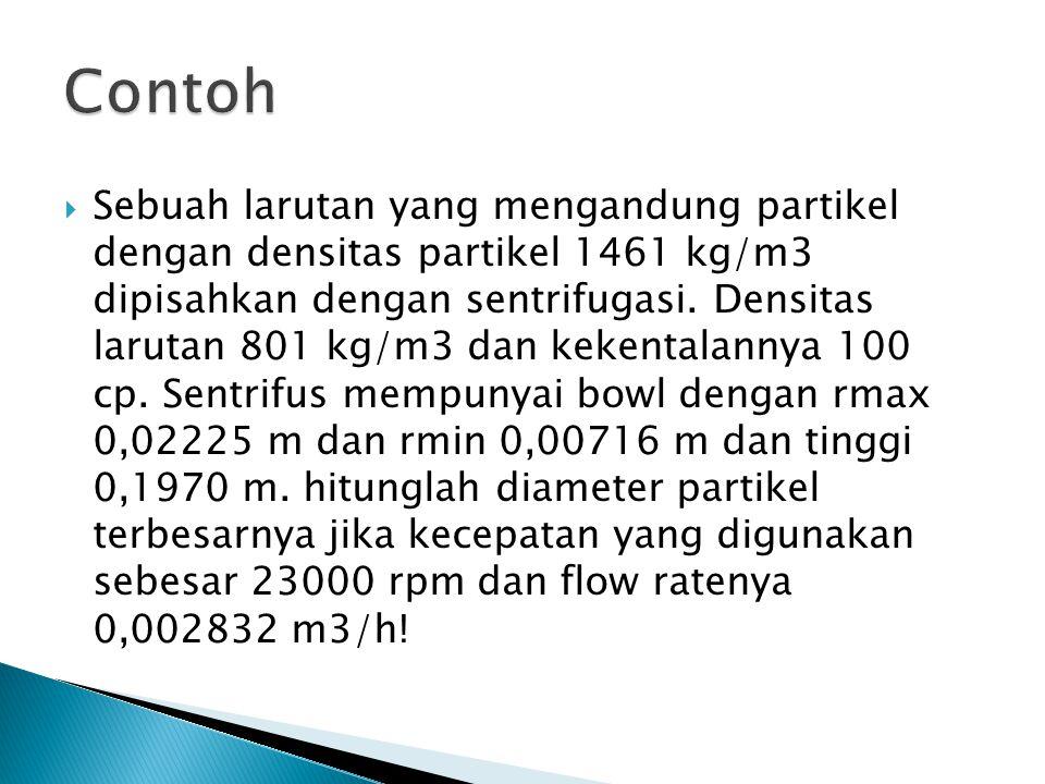  Sebuah larutan yang mengandung partikel dengan densitas partikel 1461 kg/m3 dipisahkan dengan sentrifugasi. Densitas larutan 801 kg/m3 dan kekentala