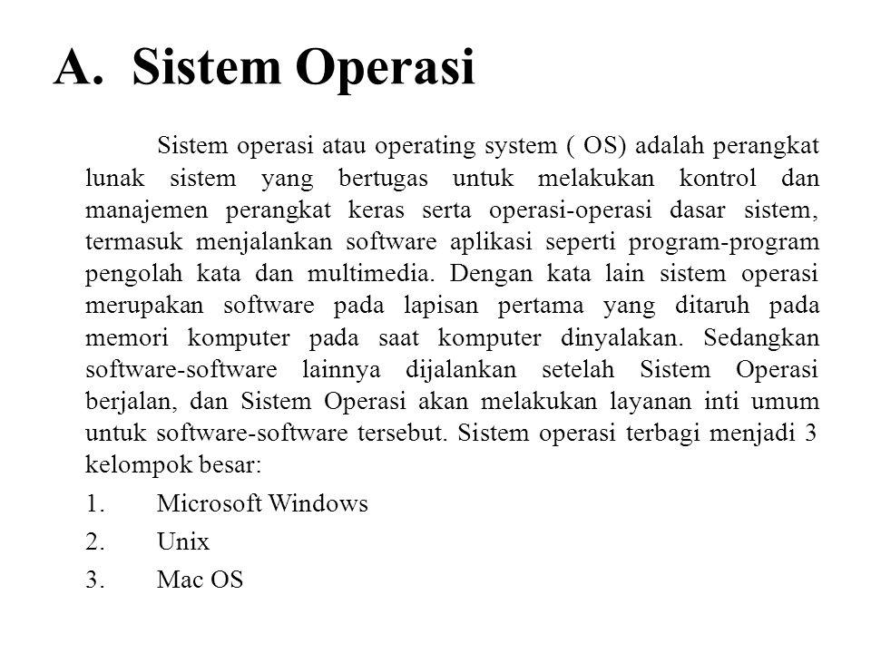 A. Sistem Operasi Sistem operasi atau operating system ( OS) adalah perangkat lunak sistem yang bertugas untuk melakukan kontrol dan manajemen perangk