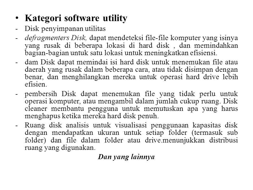 • Kategori software utility -Disk penyimpanan utilitas -defragmenters Disk, dapat mendeteksi file-file komputer yang isinya yang rusak di beberapa lokasi di hard disk, dan memindahkan bagian-bagian untuk satu lokasi untuk meningkatkan efisiensi.