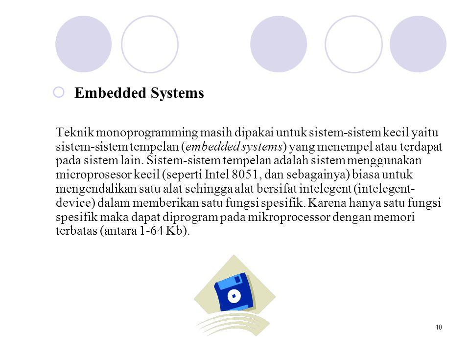 10  Embedded Systems Teknik monoprogramming masih dipakai untuk sistem-sistem kecil yaitu sistem-sistem tempelan (embedded systems) yang menempel atau terdapat pada sistem lain.