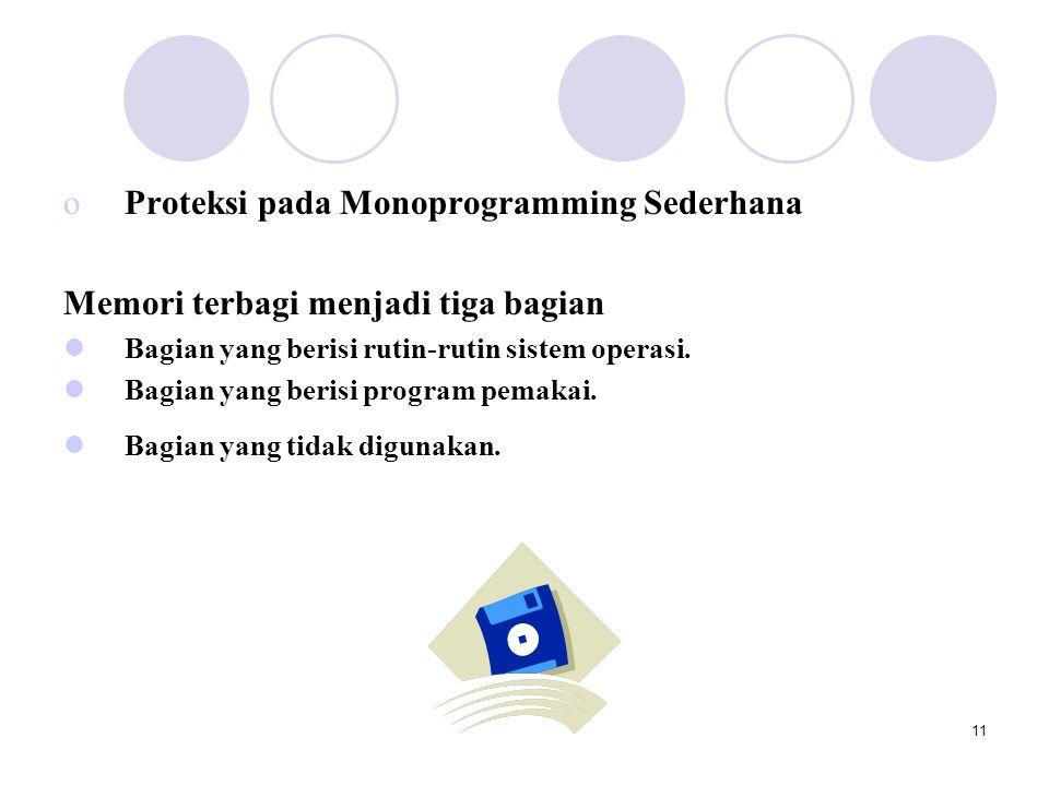 11 oProteksi pada Monoprogramming Sederhana Memori terbagi menjadi tiga bagian  Bagian yang berisi rutin-rutin sistem operasi.