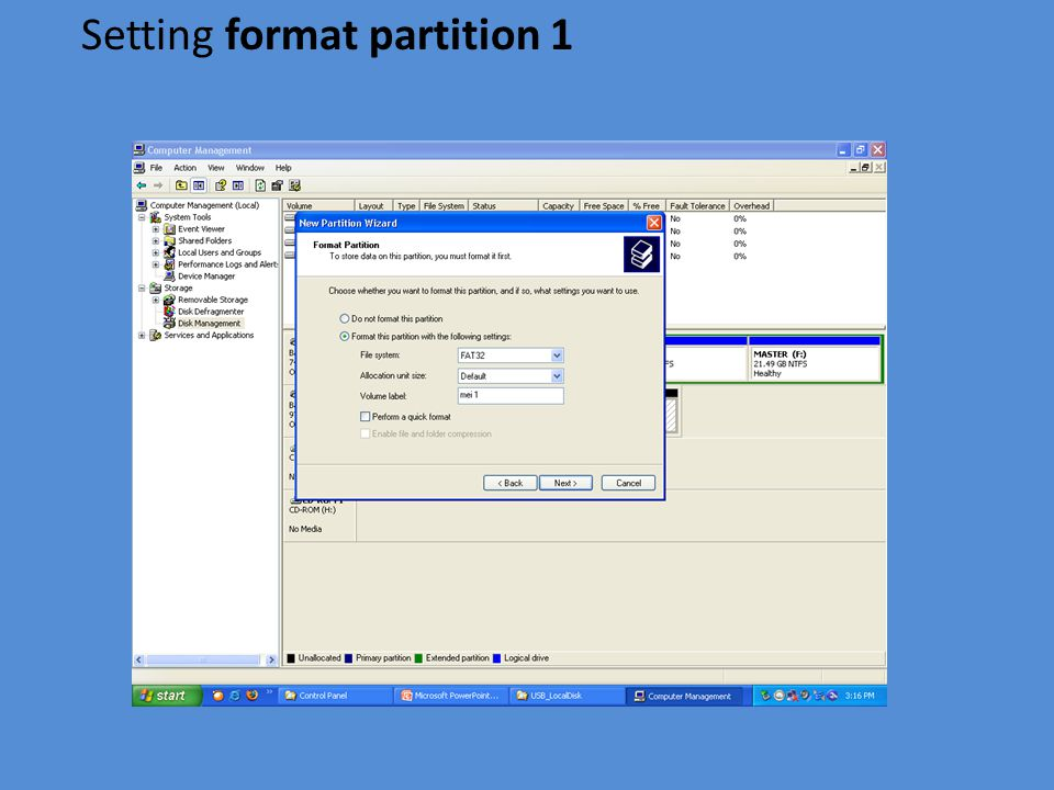 Setting format partition 1
