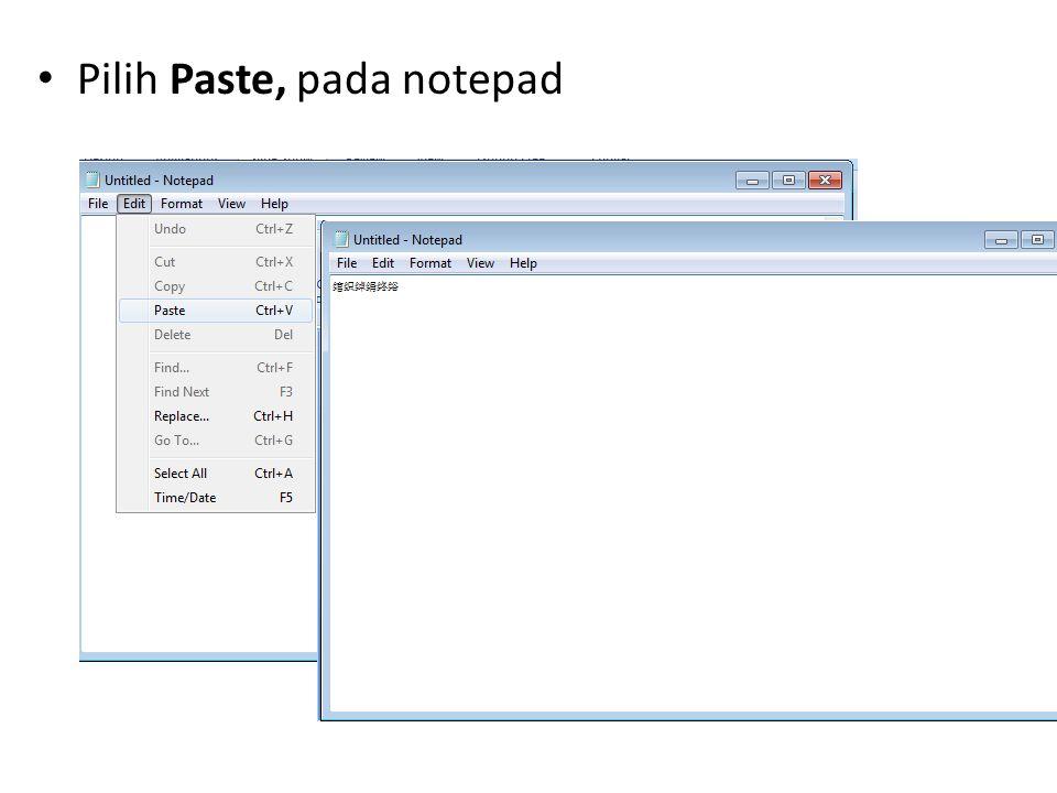 • Pilih Save as dalam folder autorun.inf. Pastikan encoding pilih unicode