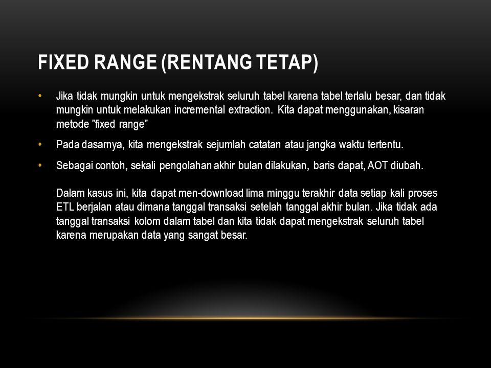 FIXED RANGE (RENTANG TETAP) • Jika tidak mungkin untuk mengekstrak seluruh tabel karena tabel terlalu besar, dan tidak mungkin untuk melakukan increme