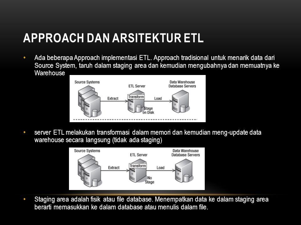 APPROACH DAN ARSITEKTUR ETL • Ada beberapa Approach implementasi ETL. Approach tradisional untuk menarik data dari Source System, taruh dalam staging