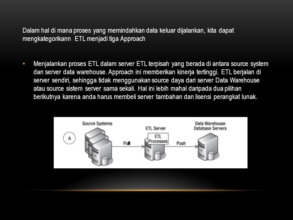 Dalam hal di mana proses yang memindahkan data keluar dijalankan, kita dapat mengkategorikann ETL menjadi tiga Approach • Menjalankan proses ETL dalam