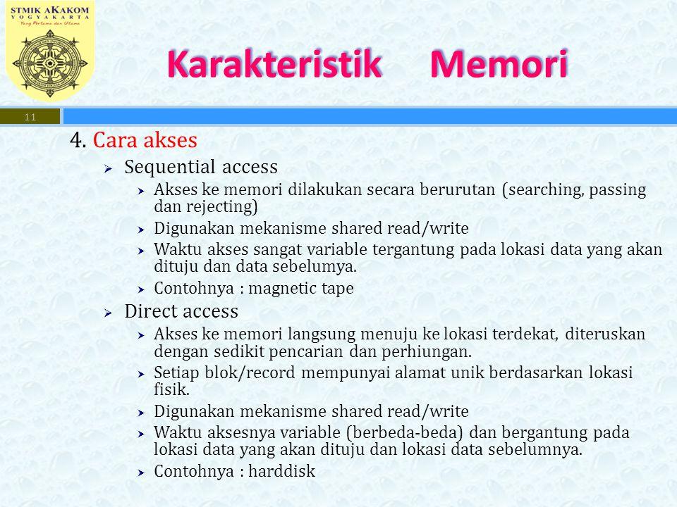 4. Cara akses  Sequential access  Akses ke memori dilakukan secara berurutan (searching, passing dan rejecting)  Digunakan mekanisme shared read/wr
