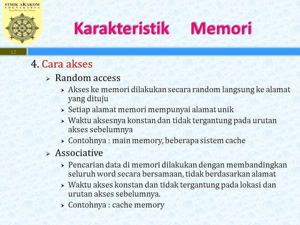 4. Cara akses  Random access  Akses ke memori dilakukan secara random langsung ke alamat yang dituju  Setiap alamat memori mempunyai alamat unik 