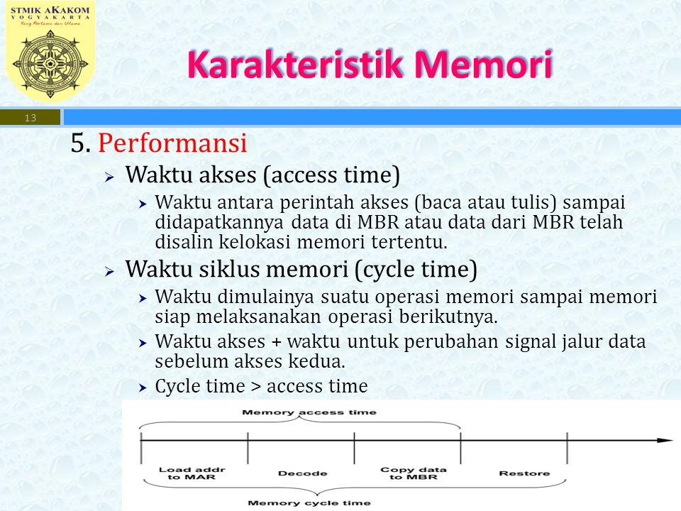 5. Performansi  Waktu akses (access time)  Waktu antara perintah akses (baca atau tulis) sampai didapatkannya data di MBR atau data dari MBR telah d