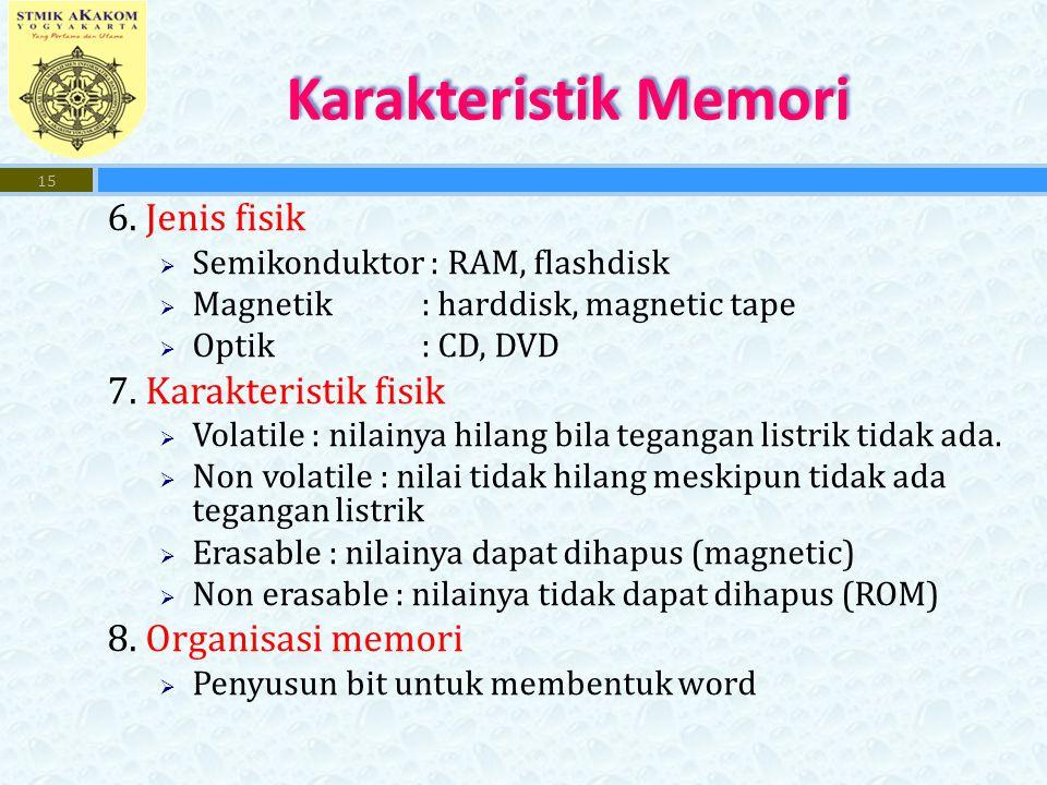 6. Jenis fisik  Semikonduktor : RAM, flashdisk  Magnetik: harddisk, magnetic tape  Optik: CD, DVD 7. Karakteristik fisik  Volatile : nilainya hila