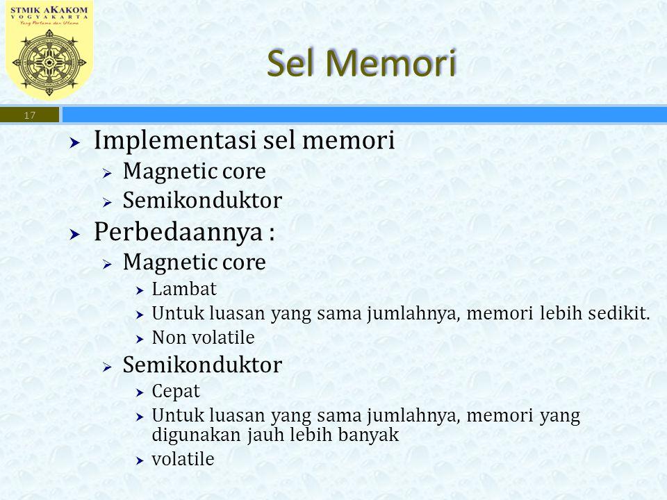  Implementasi sel memori  Magnetic core  Semikonduktor  Perbedaannya :  Magnetic core  Lambat  Untuk luasan yang sama jumlahnya, memori lebih sedikit.