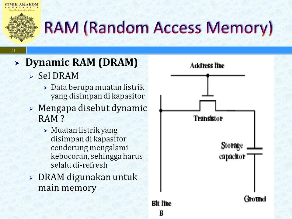  Dynamic RAM (DRAM)  Sel DRAM  Data berupa muatan listrik yang disimpan di kapasitor  Mengapa disebut dynamic RAM .