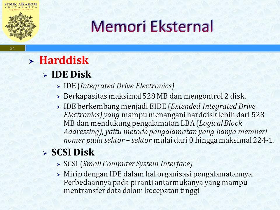  Harddisk  IDE Disk  IDE (Integrated Drive Electronics)  Berkapasitas maksimal 528 MB dan mengontrol 2 disk.