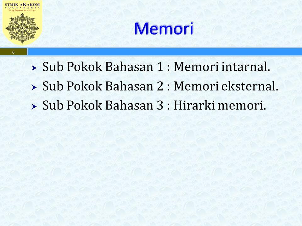 Memori  Sub Pokok Bahasan 1 : Memori intarnal. Sub Pokok Bahasan 2 : Memori eksternal.