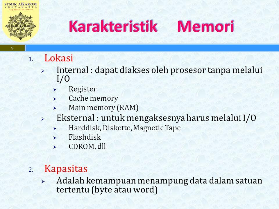 1. Lokasi  Internal : dapat diakses oleh prosesor tanpa melalui I/O  Register  Cache memory  Main memory (RAM)  Eksternal : untuk mengaksesnya ha