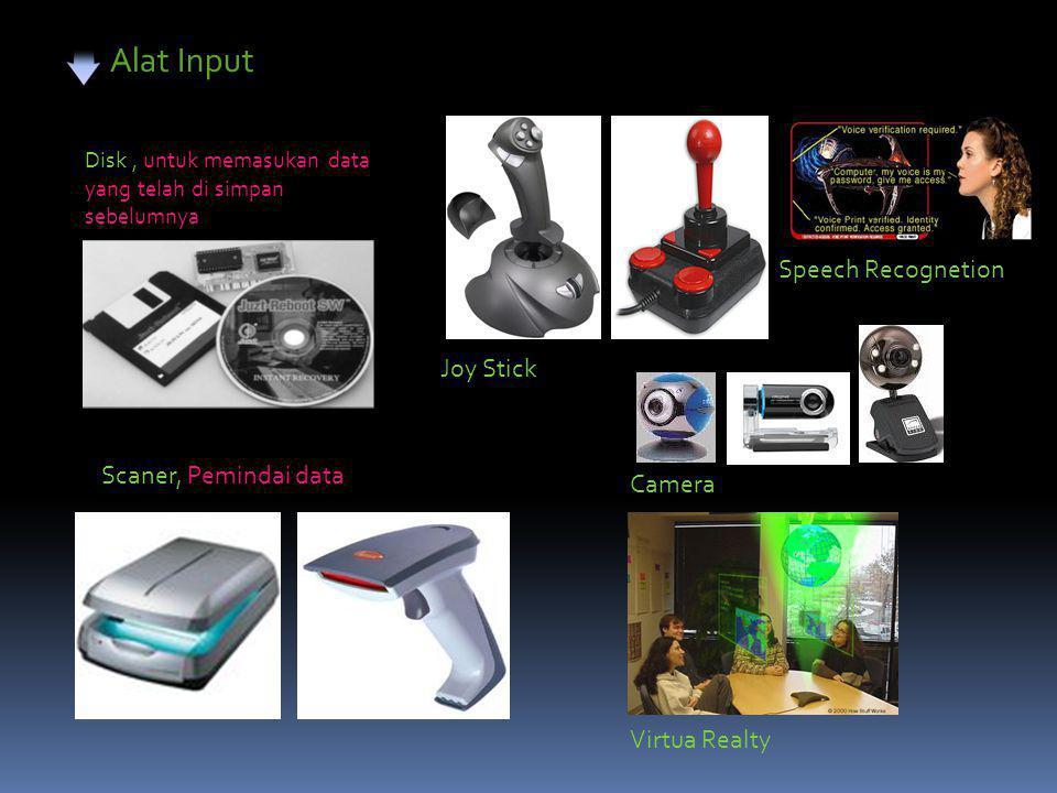 Alat Input Disk, untuk memasukan data yang telah di simpan sebelumnya Scaner, Pemindai data Joy Stick Speech Recognetion Camera Virtua Realty
