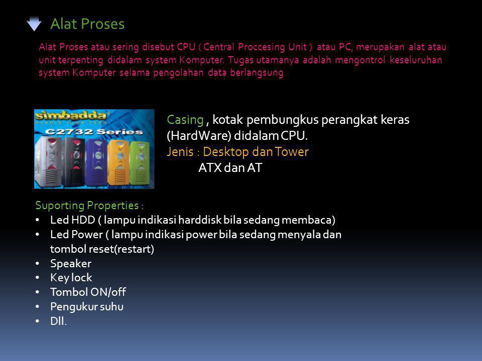 Alat Proses Alat Proses atau sering disebut CPU ( Central Proccesing Unit ) atau PC, merupakan alat atau unit terpenting didalam system Komputer.
