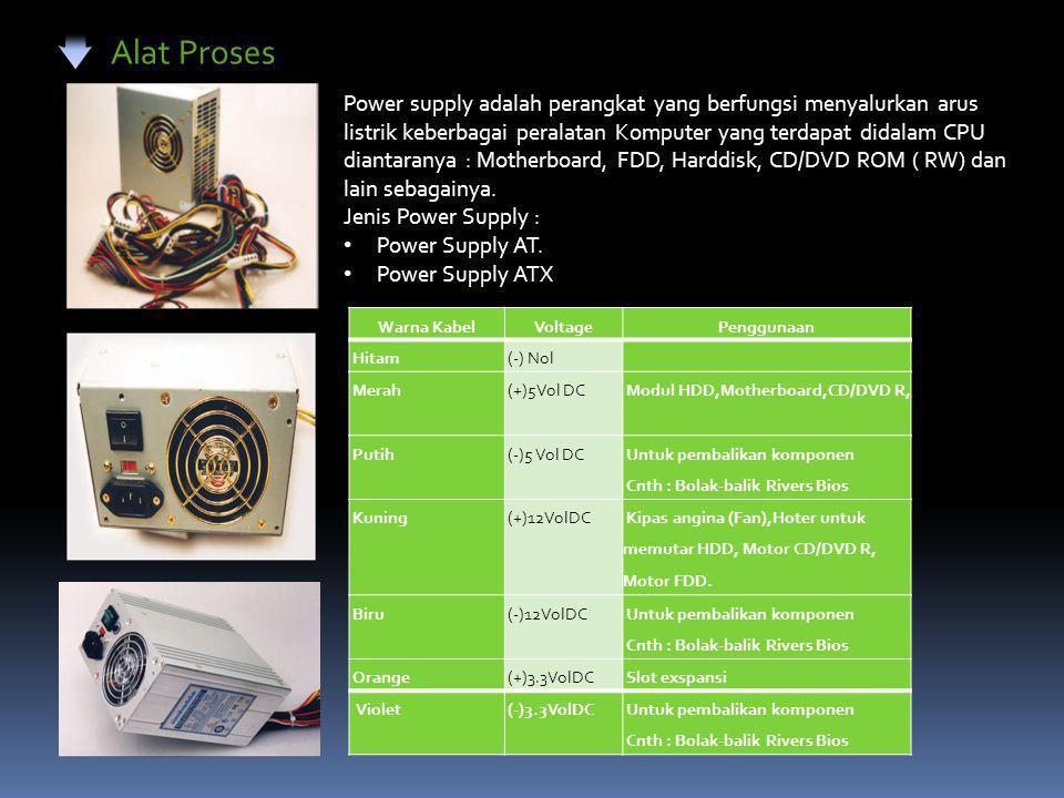 Alat Proses Power supply adalah perangkat yang berfungsi menyalurkan arus listrik keberbagai peralatan Komputer yang terdapat didalam CPU diantaranya : Motherboard, FDD, Harddisk, CD/DVD ROM ( RW) dan lain sebagainya.