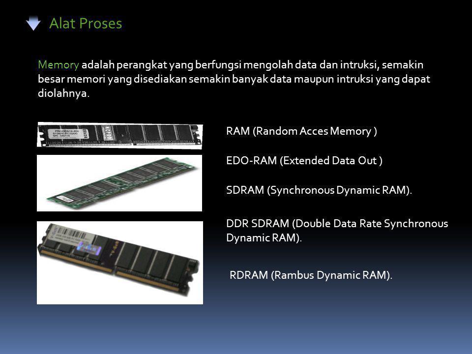 Alat Proses Memory adalah perangkat yang berfungsi mengolah data dan intruksi, semakin besar memori yang disediakan semakin banyak data maupun intruksi yang dapat diolahnya.