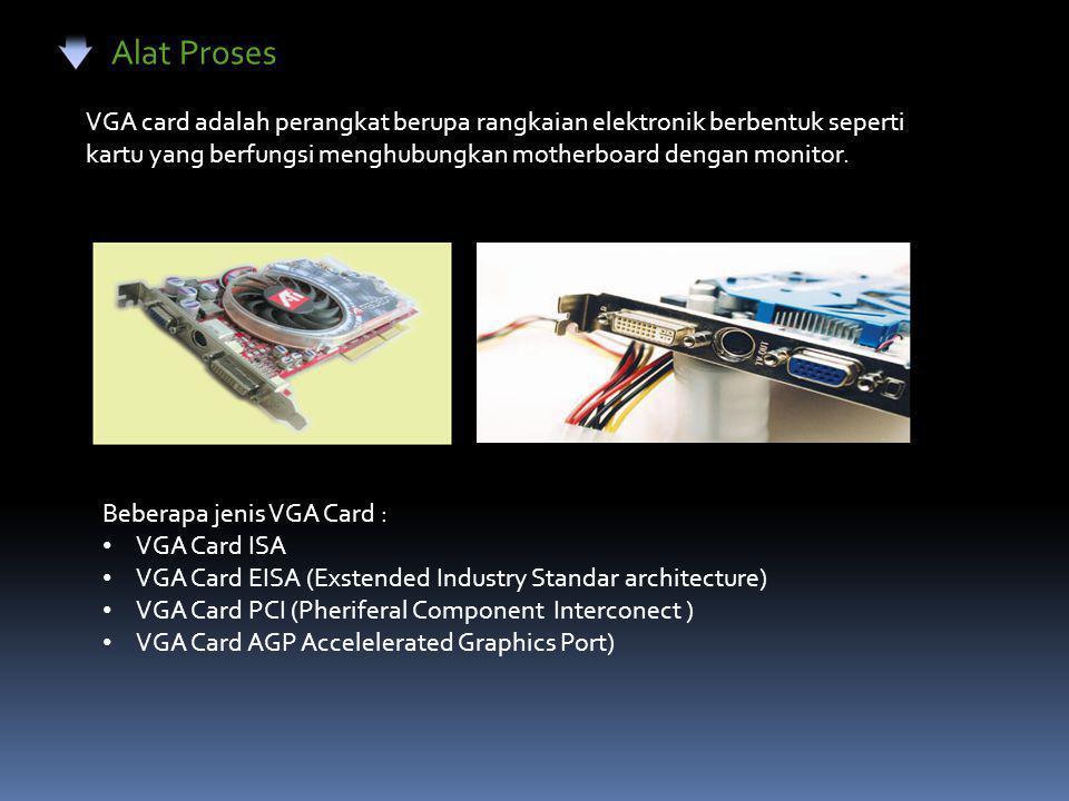 Alat Proses Sound Card adalah perangkat multi media berbentuk seperti kartu yang berfungsi mengolah suara pada Komputer Bebarapa jenis Sond Card : • Sound Card ISA 8 bit • Sound Card ISA 16 bit • Sound Card EISA • Sound Card PCI • Sound Card AGP