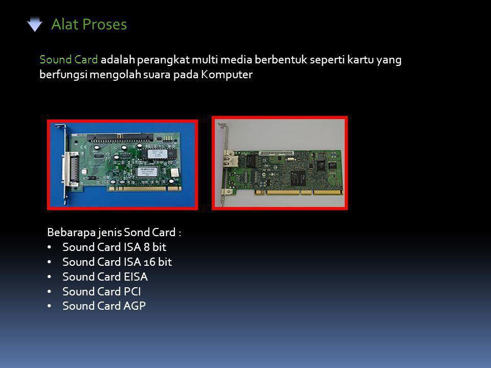Alat Proses Sound Card adalah perangkat multi media berbentuk seperti kartu yang berfungsi mengolah suara pada Komputer Bebarapa jenis Sond Card : • S
