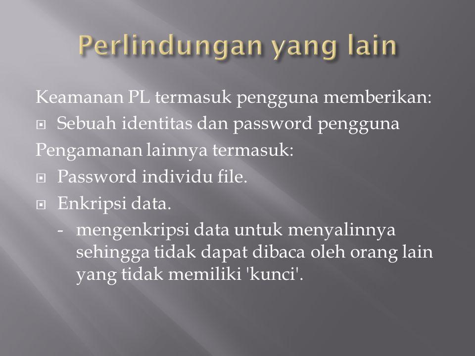 Keamanan PL termasuk pengguna memberikan:  Sebuah identitas dan password pengguna Pengamanan lainnya termasuk:  Password individu file.