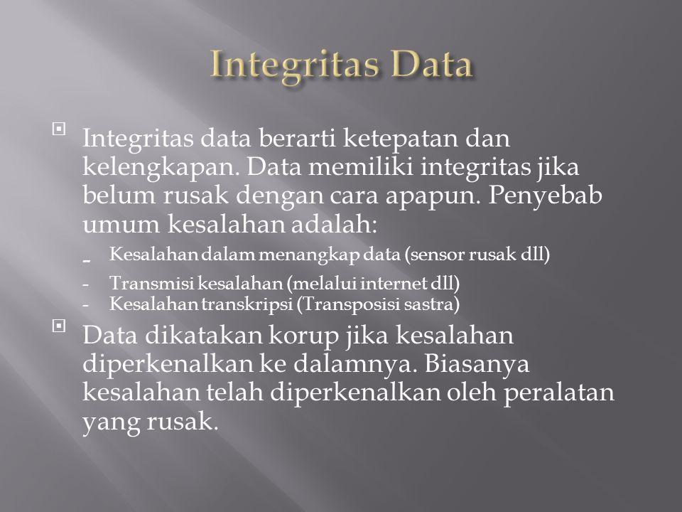 Integritas data berarti ketepatan dan kelengkapan.