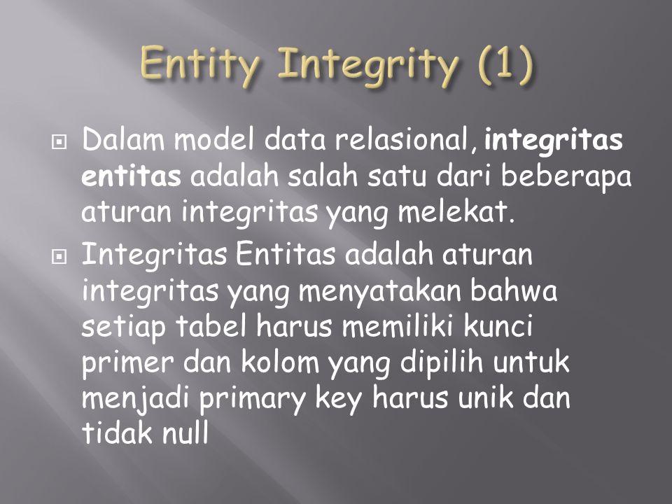  Dalam model data relasional, integritas entitas adalah salah satu dari beberapa aturan integritas yang melekat.
