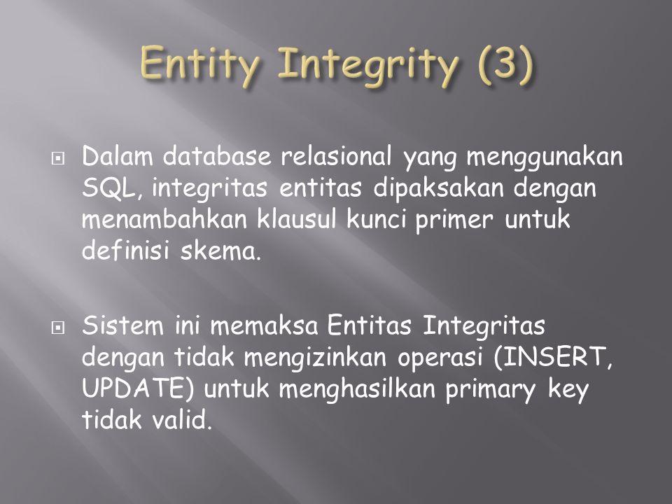  Dalam database relasional yang menggunakan SQL, integritas entitas dipaksakan dengan menambahkan klausul kunci primer untuk definisi skema.