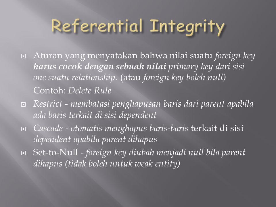  Aturan yang menyatakan bahwa nilai suatu foreign key harus cocok dengan sebuah nilai primary key dari sisi one suatu relationship.
