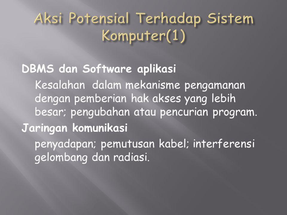 DBMS dan Software aplikasi Kesalahan dalam mekanisme pengamanan dengan pemberian hak akses yang lebih besar; pengubahan atau pencurian program.