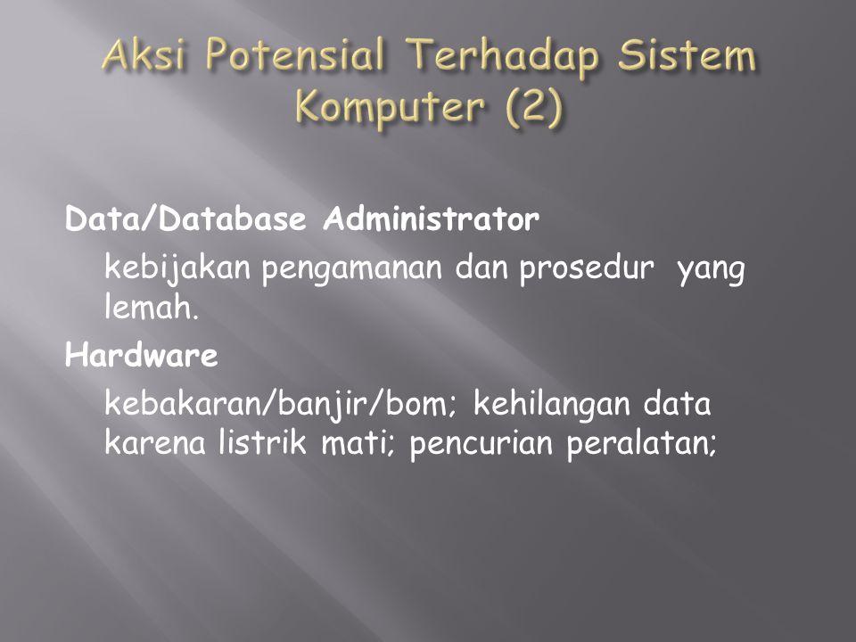 Data/Database Administrator kebijakan pengamanan dan prosedur yang lemah.
