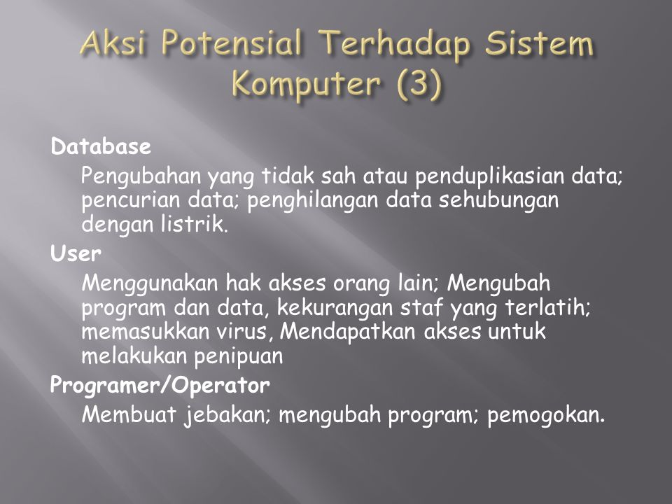 Database Pengubahan yang tidak sah atau penduplikasian data; pencurian data; penghilangan data sehubungan dengan listrik.