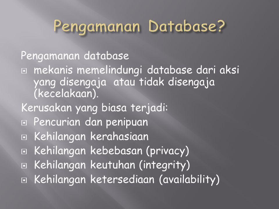 Pengamanan database  mekanis memelindungi database dari aksi yang disengaja atau tidak disengaja (kecelakaan).