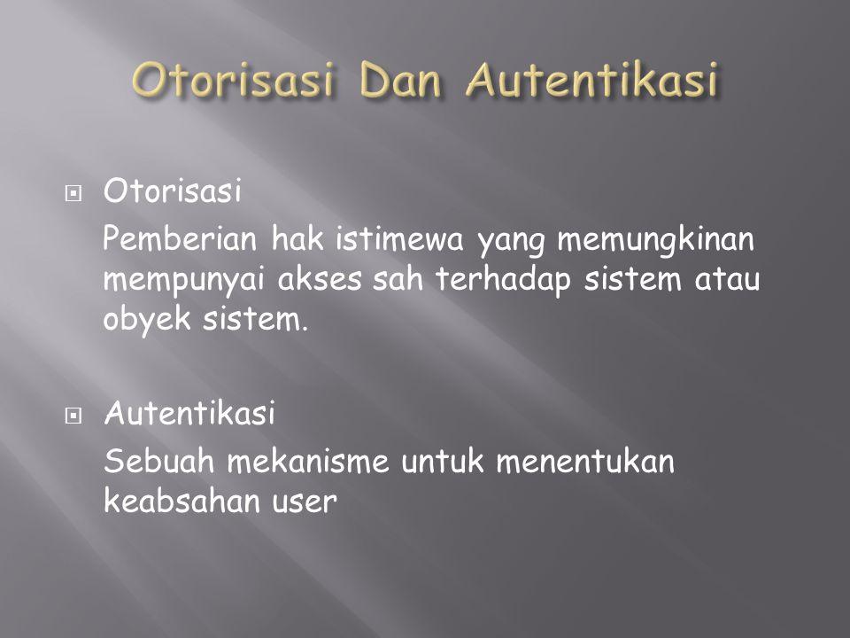  Otorisasi Pemberian hak istimewa yang memungkinan mempunyai akses sah terhadap sistem atau obyek sistem.