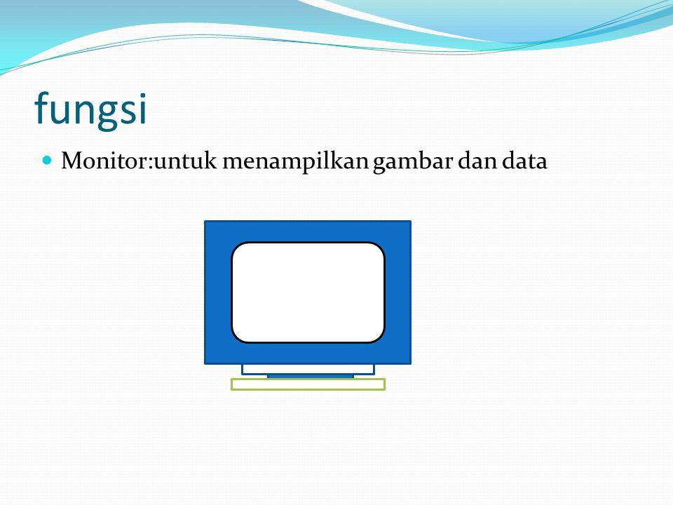 fungsi  Monitor:untuk menampilkan gambar dan data