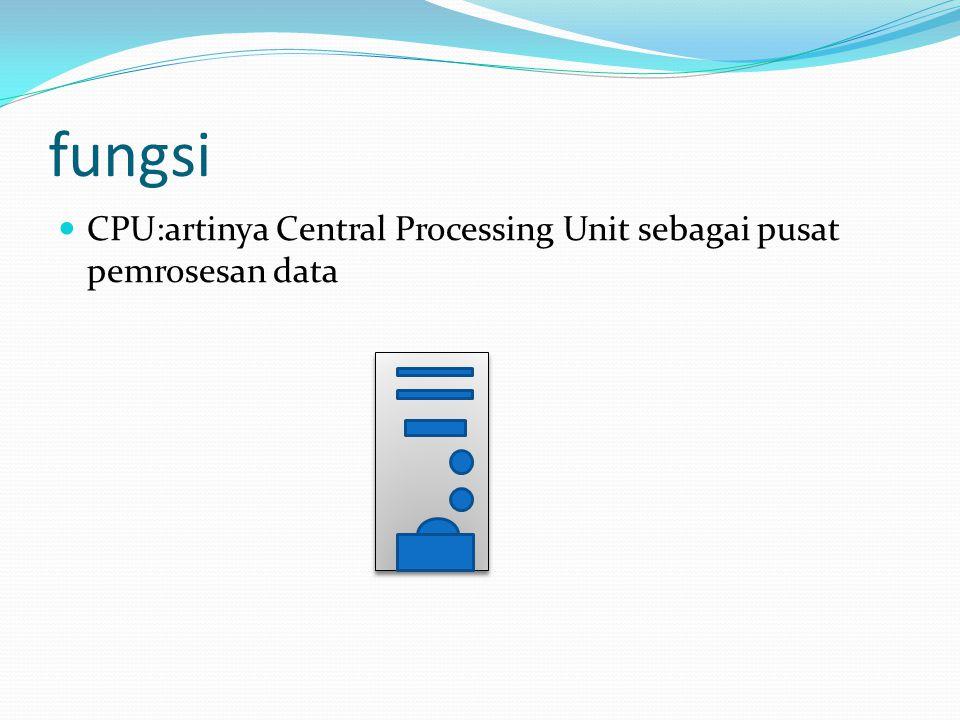fungsi  CPU:artinya Central Processing Unit sebagai pusat pemrosesan data