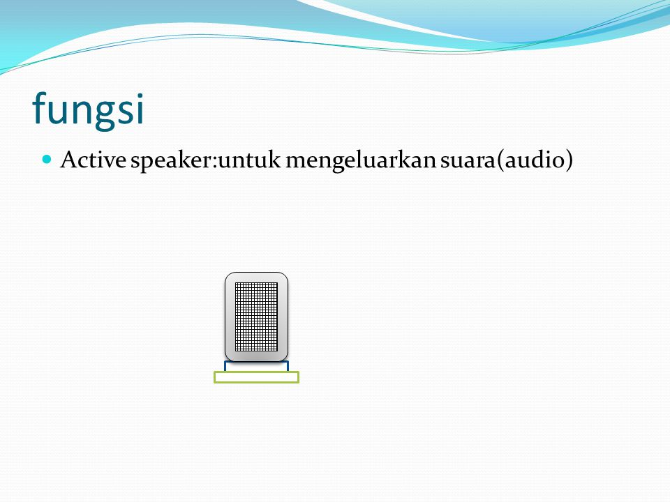 fungsi  Active speaker:untuk mengeluarkan suara(audio)