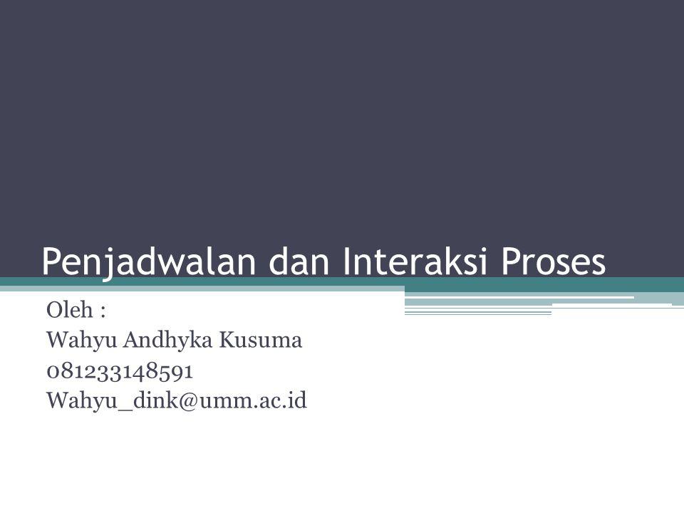 Penjadwalan dan Interaksi Proses Oleh : Wahyu Andhyka Kusuma 081233148591 Wahyu_dink@umm.ac.id