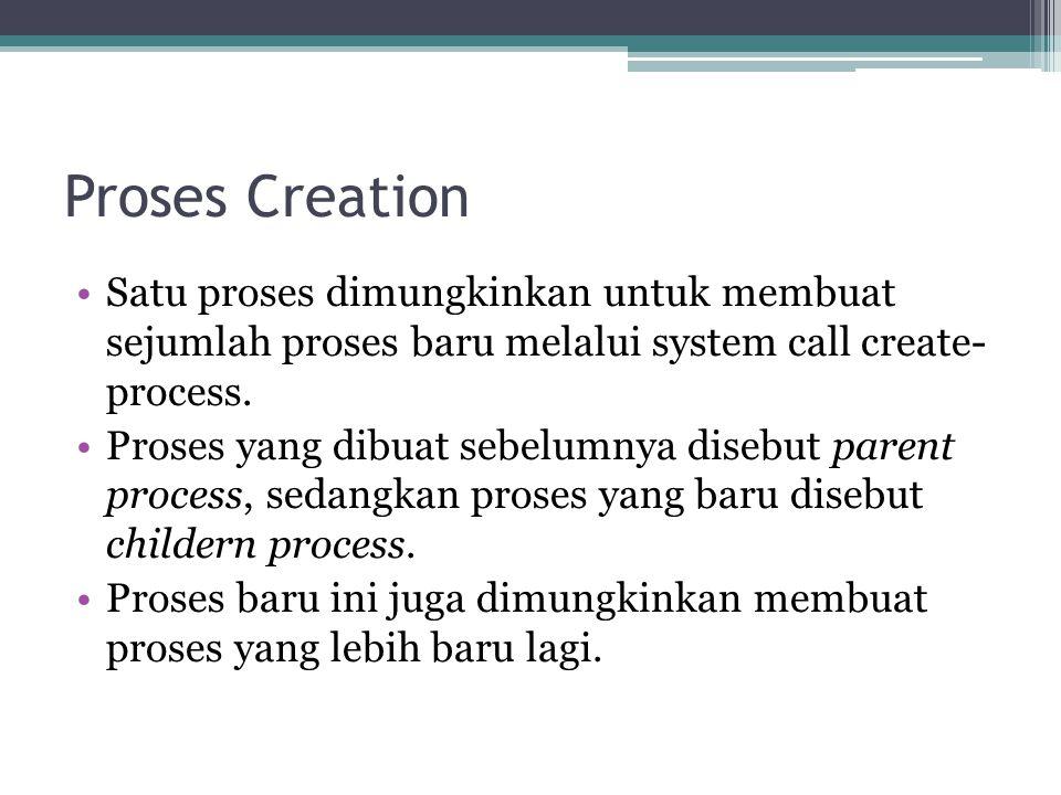 Proses Creation •Satu proses dimungkinkan untuk membuat sejumlah proses baru melalui system call create- process. •Proses yang dibuat sebelumnya diseb
