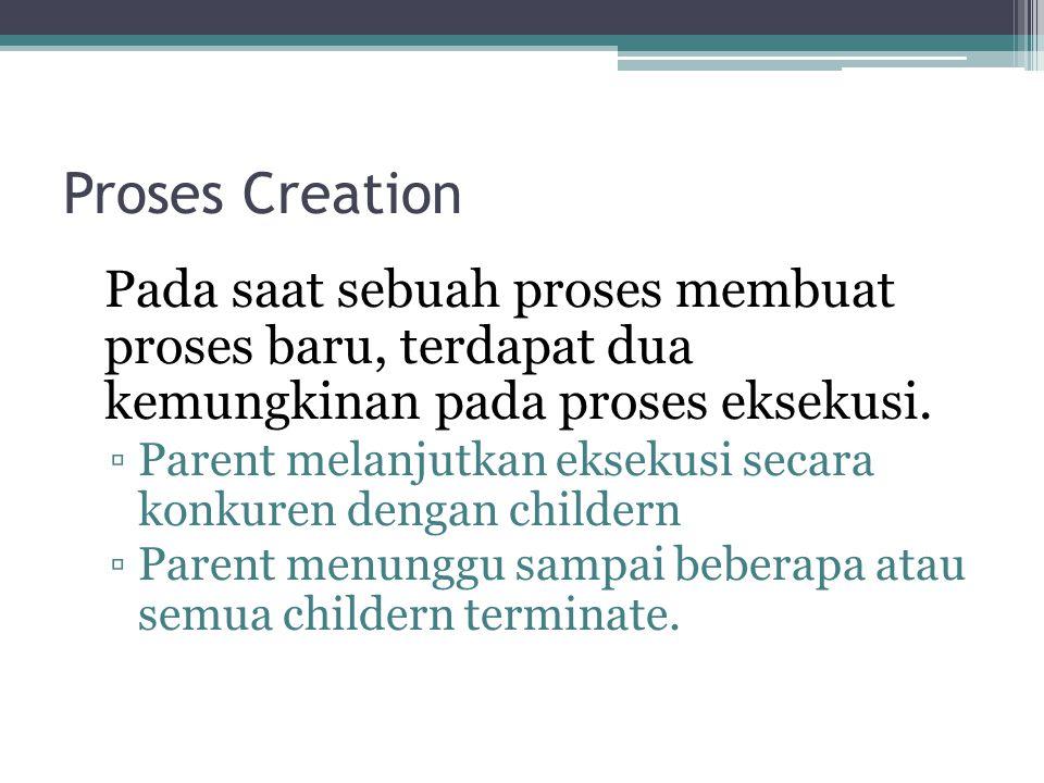 Proses Creation Pada saat sebuah proses membuat proses baru, terdapat dua kemungkinan pada proses eksekusi. ▫Parent melanjutkan eksekusi secara konkur