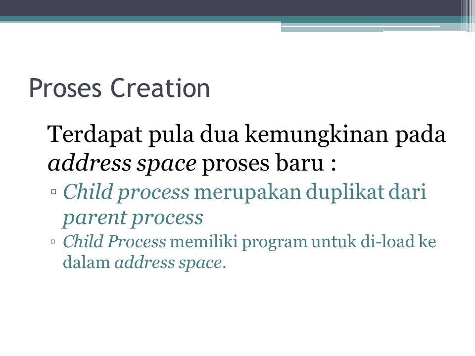 Proses Creation Terdapat pula dua kemungkinan pada address space proses baru : ▫Child process merupakan duplikat dari parent process ▫Child Process me