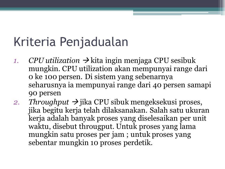 Kriteria Penjadualan 1.CPU utilization  kita ingin menjaga CPU sesibuk mungkin. CPU utilization akan mempunyai range dari 0 ke 100 persen. Di sistem