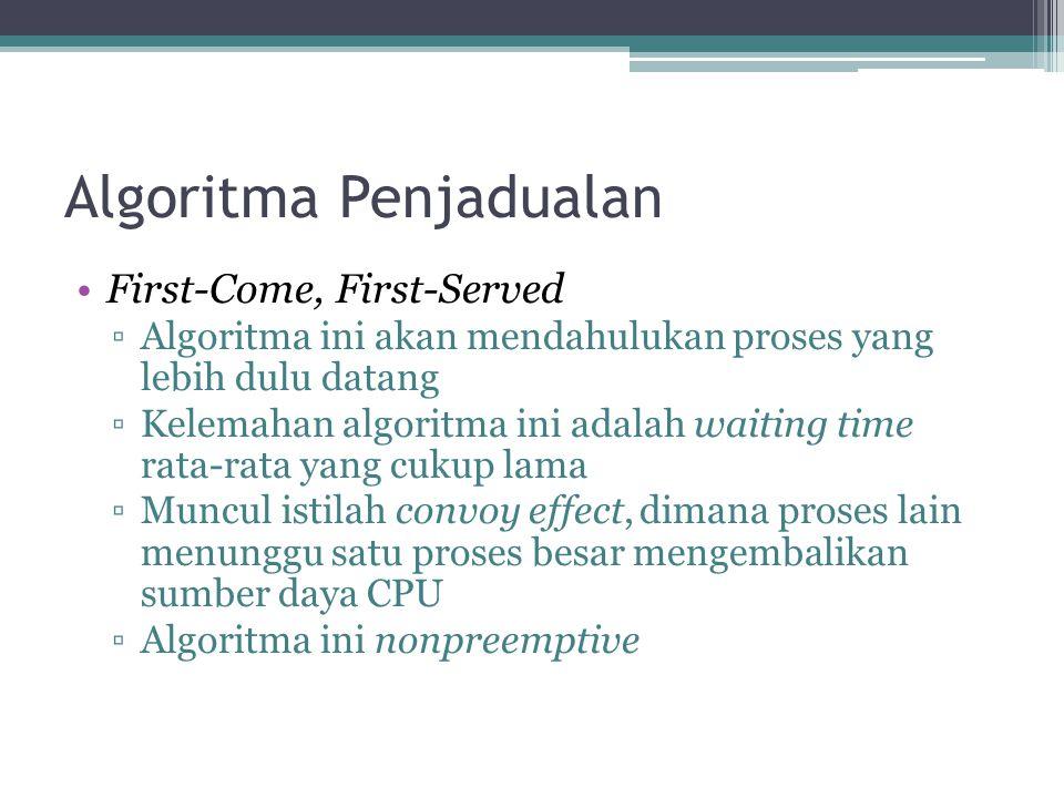 Algoritma Penjadualan •First-Come, First-Served ▫Algoritma ini akan mendahulukan proses yang lebih dulu datang ▫Kelemahan algoritma ini adalah waiting