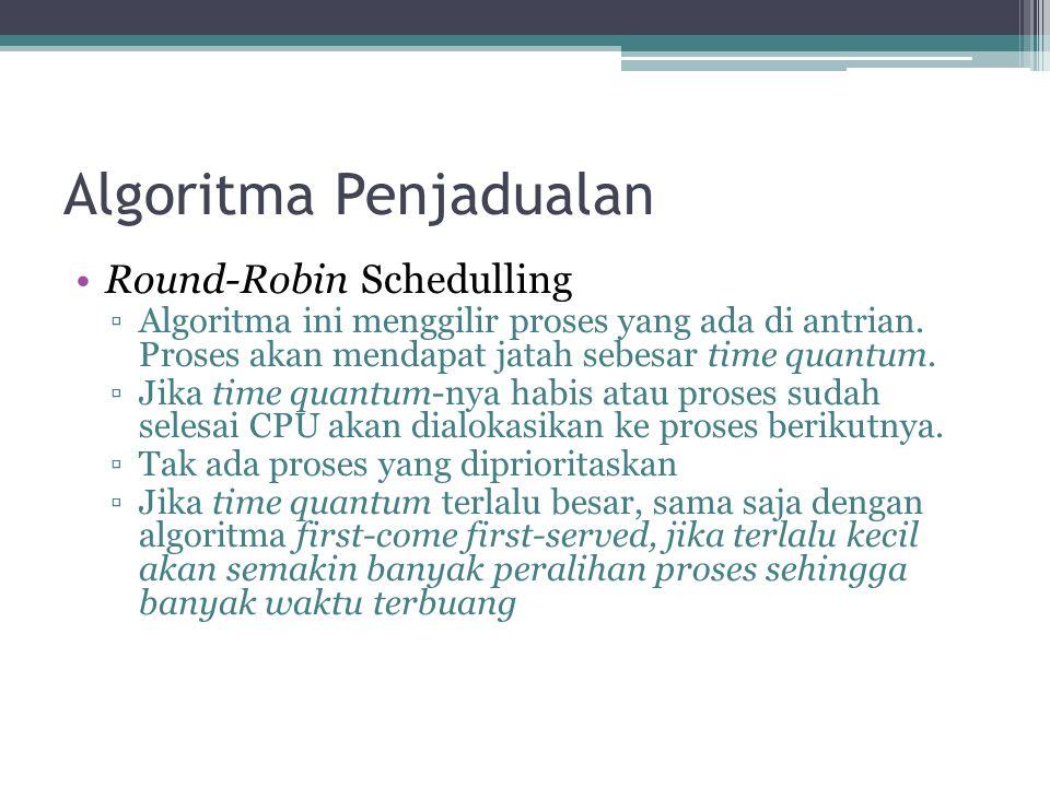 Algoritma Penjadualan •Round-Robin Schedulling ▫Algoritma ini menggilir proses yang ada di antrian. Proses akan mendapat jatah sebesar time quantum. ▫